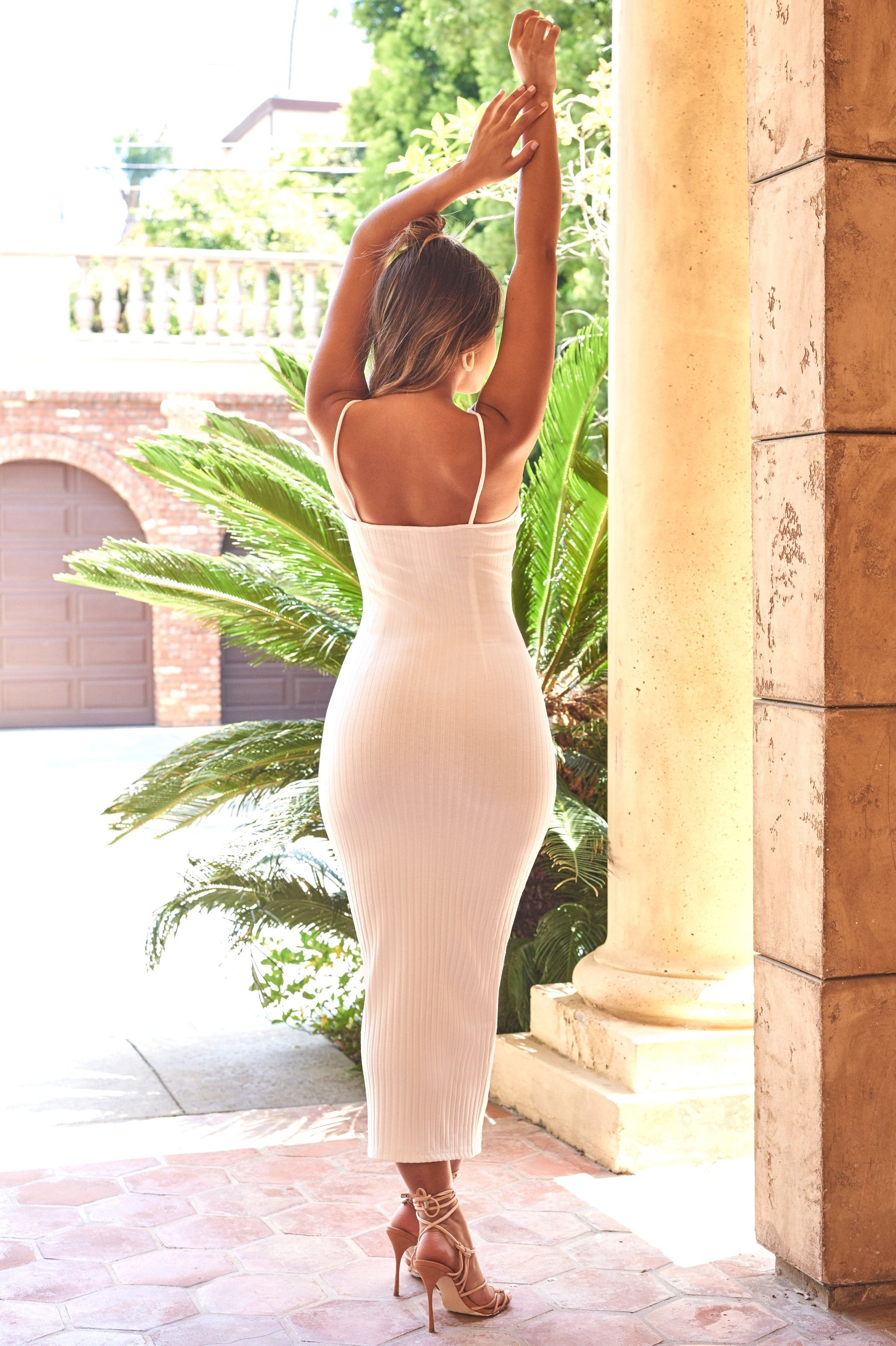 white spaghetti strapl ribbed jersey bodycon maxi dress