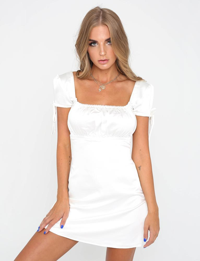 white square neckline dress