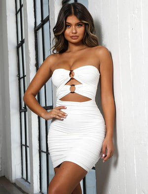 white strapless bodycon dress with cutouts