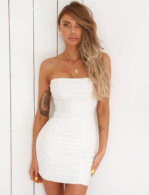 white strapless bodycon dress
