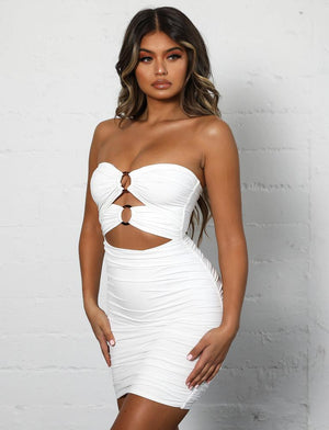 white strapless cut out bodycon dress