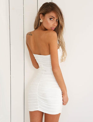 white strapless mini dress