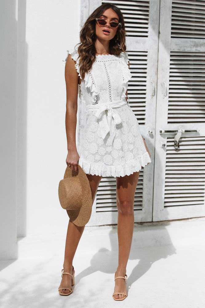 white summer mini dress