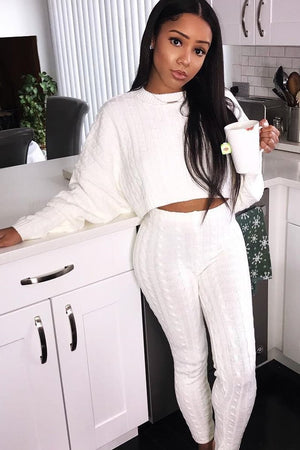 white sweater and knit leggings set