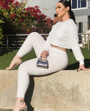 white sweater leggings set