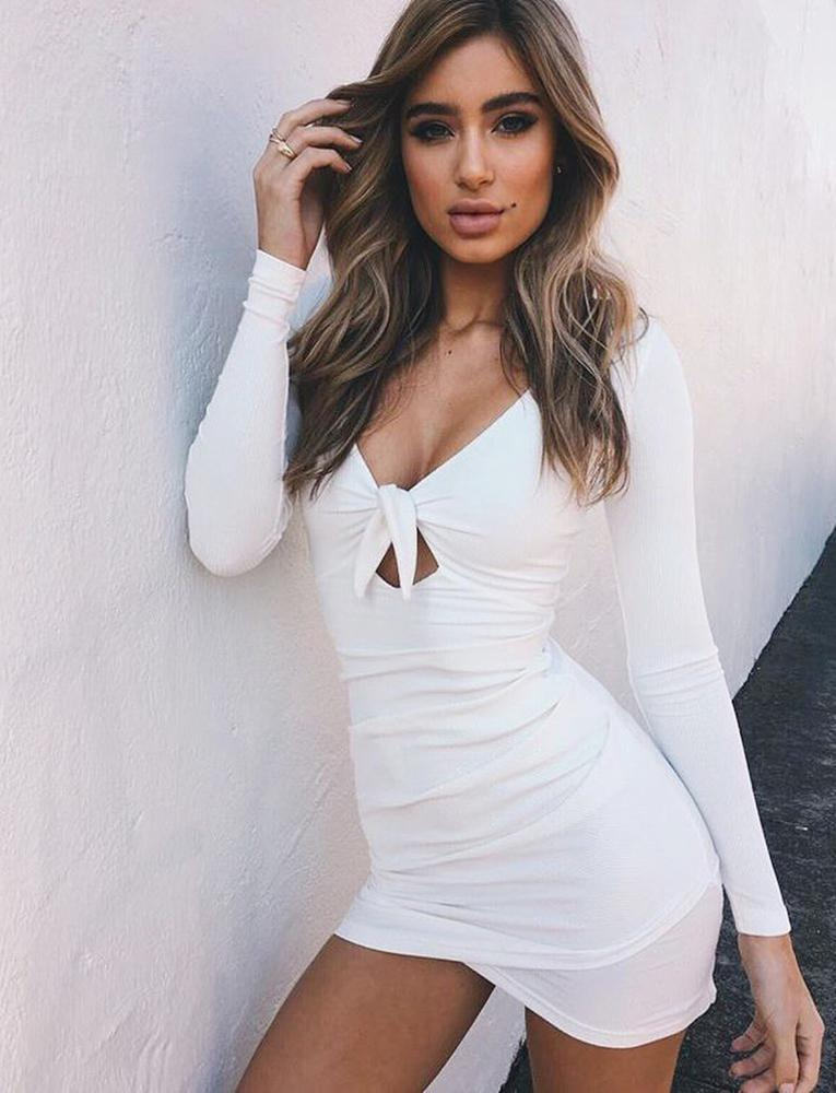 white tie front bodycon mini dress