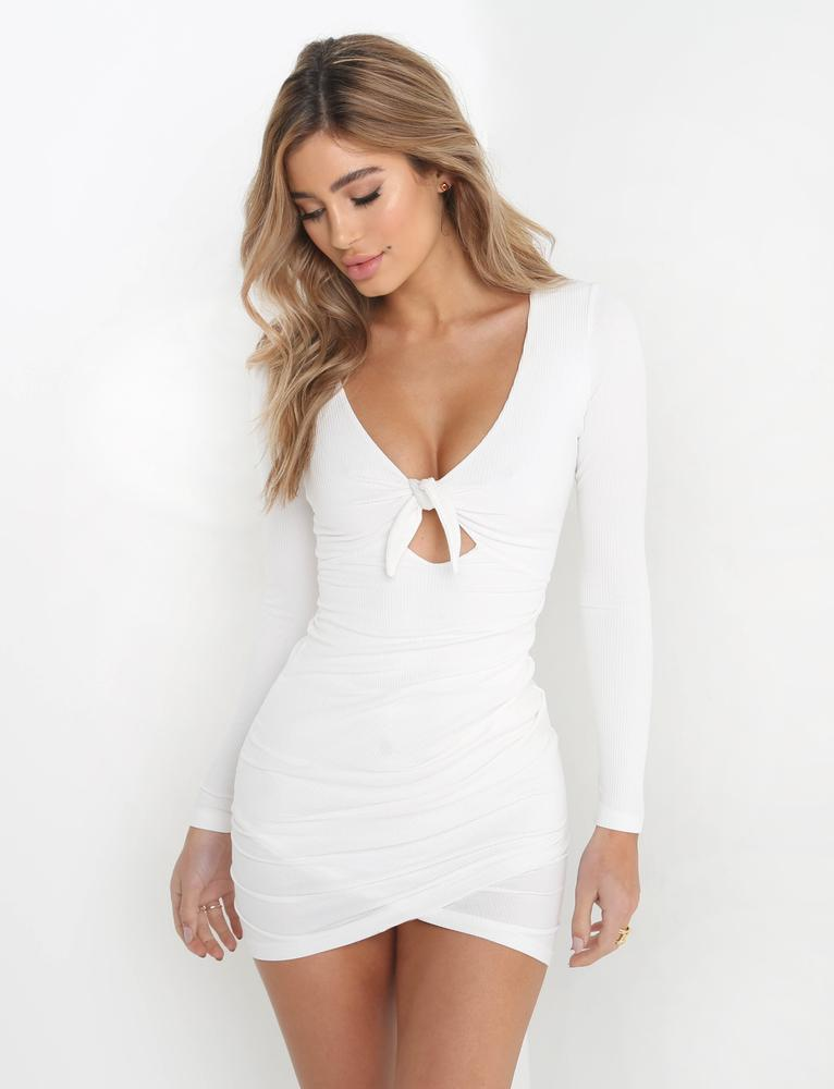 white tie front dress