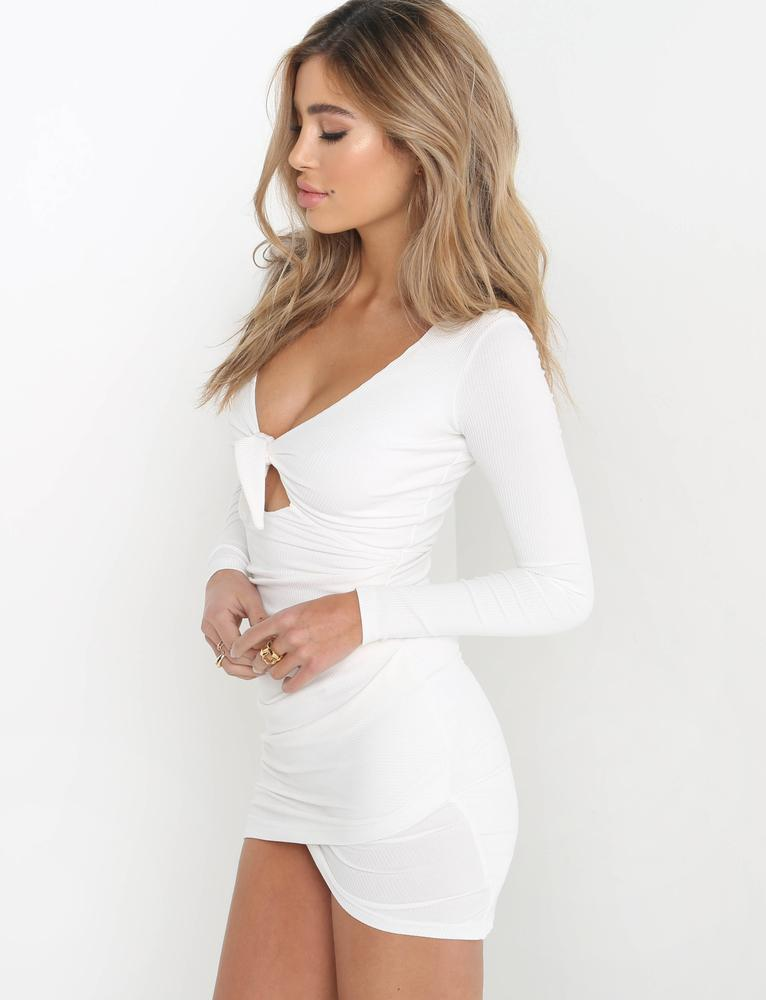white tie front mini dress