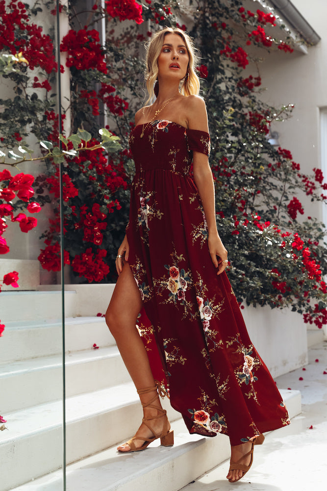 wine off shoulder floral dress