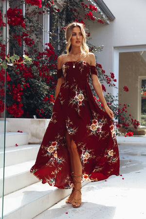 burgundy off shoulder floral dress
