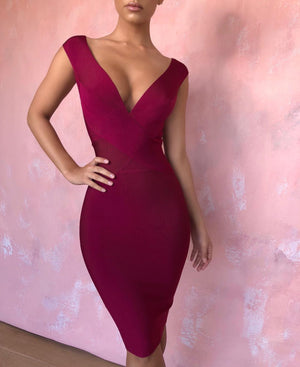 wine red deep v bandage dress