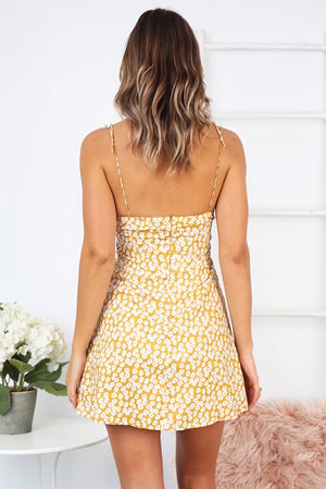 yellow floral a line dress