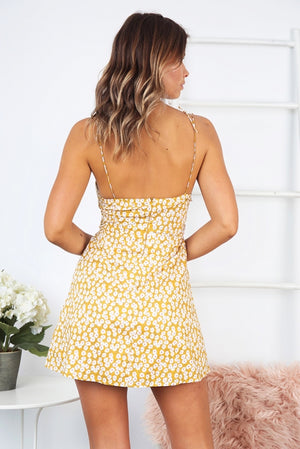 yellow floral a line mini dress