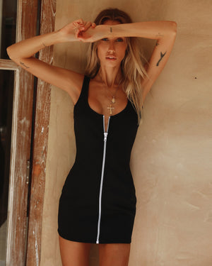 zip front mini dress
