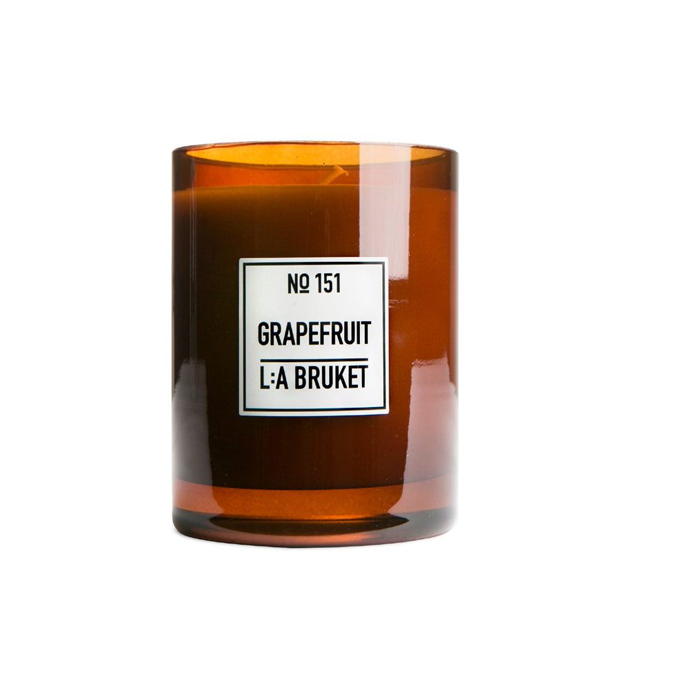 The delectable aroma of Citrus aurantium paradisii has a pronounced impact on senses and emotions. It is refreshing as well as euphoria-inducing and energizing. It will release and evoke warm feelings and inspire personalities to loosen up and be happy. Burns +45 hours. L:A Bruket scented candles are made of wax from organic soy, hand poured into mouth blown glasses by skilled craftsmen.