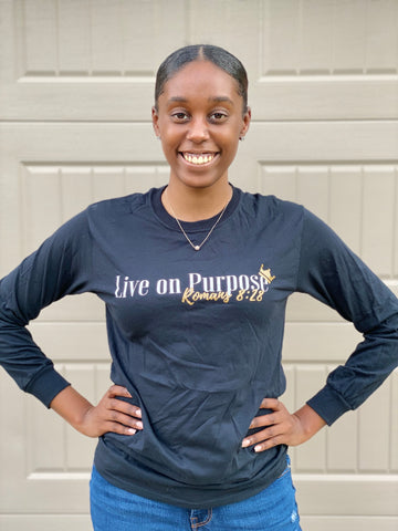 Classic Live on Purpose: Long Sleeve (Black) UNISEX