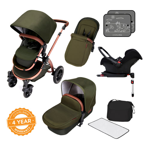 Ickle Bubba Stomp v4 Special Edition All In One Travel System With Isofix Base - Woodland Bronze