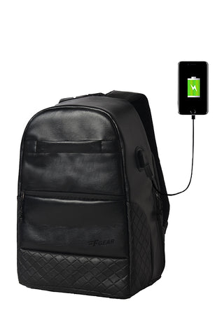 F Gear Latent Anti Theft 25 Liters Laptop Backpack with Rain Cover (Black)