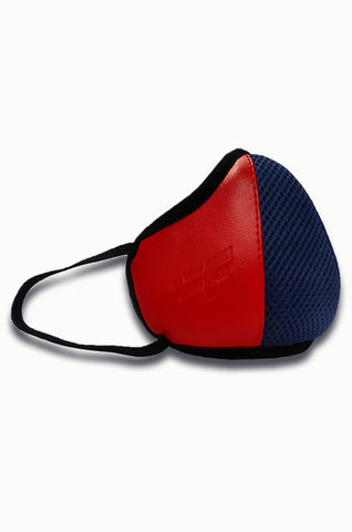 F Gear Luxur F95 Leatherette Mask Navy Blue-Red Safeguard 7 layer ISO CE SITRA lab certified >95% Bacteria Filtration