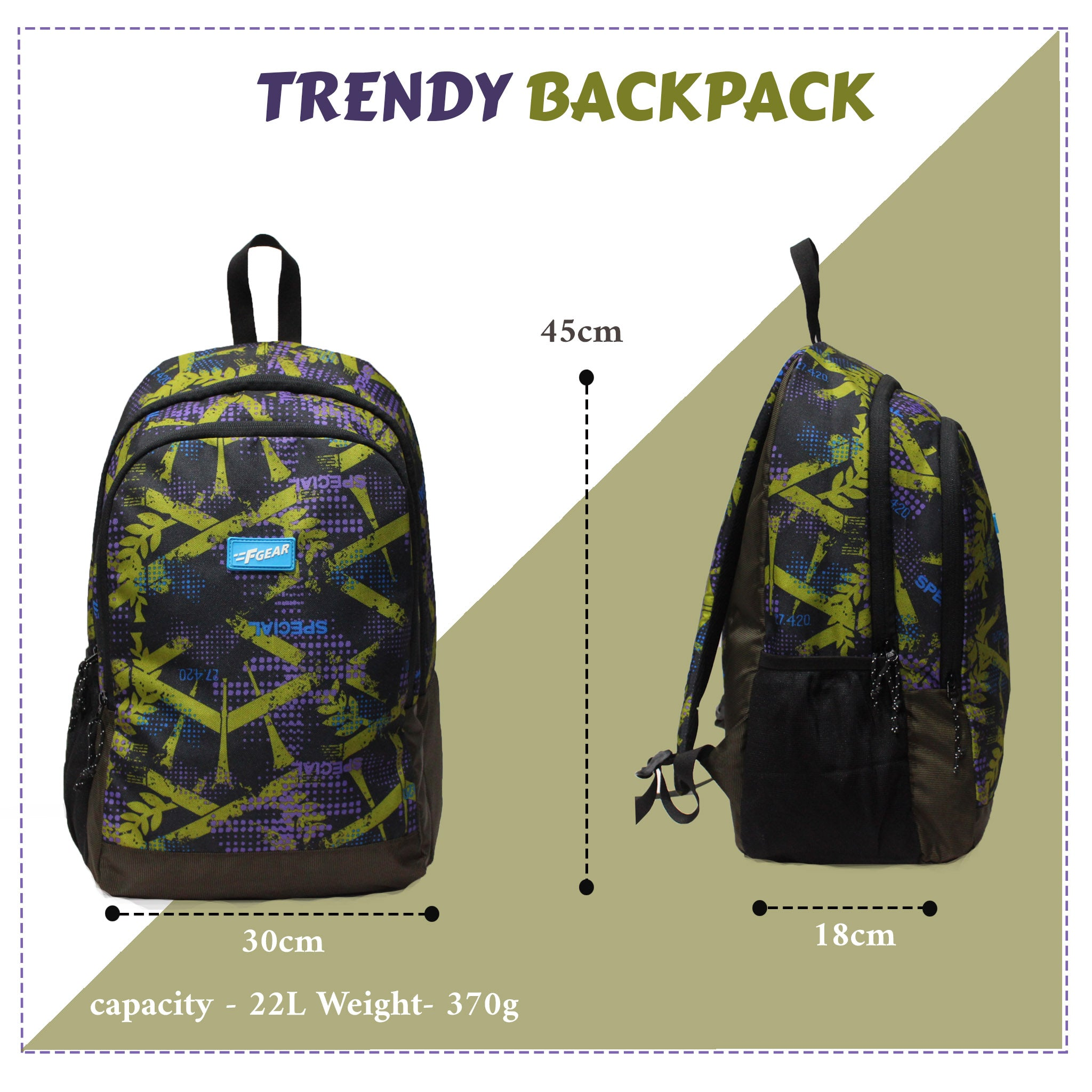 F Gear Castle Special Timer  Seaweed 22 Ltrs Casual Backpack (3410)