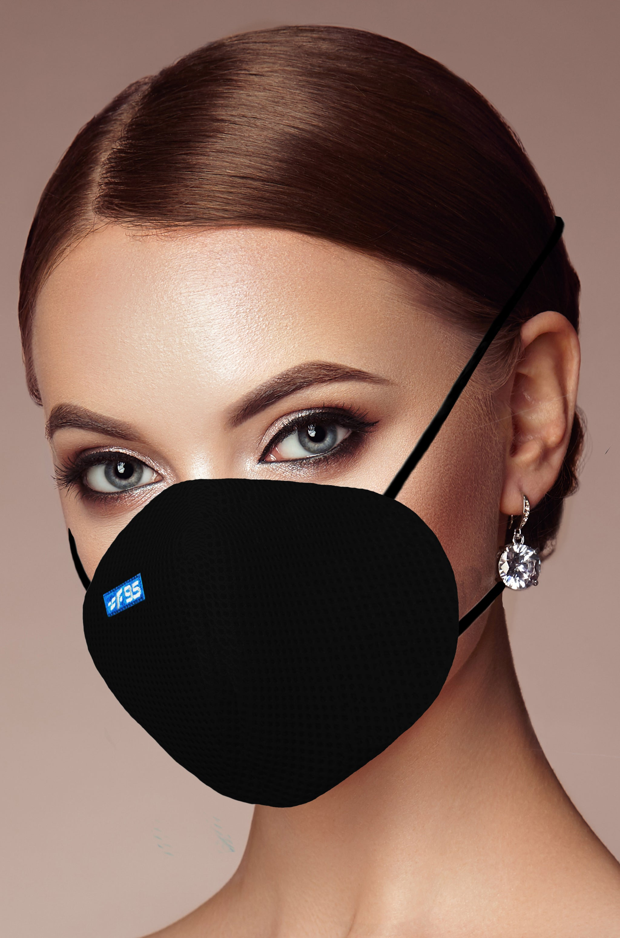 F Gear Pearl F95 Mask Black Pack of 1 Safeguard 7 layer ISO CE SITRA lab certified >95% Bacteria Filtration