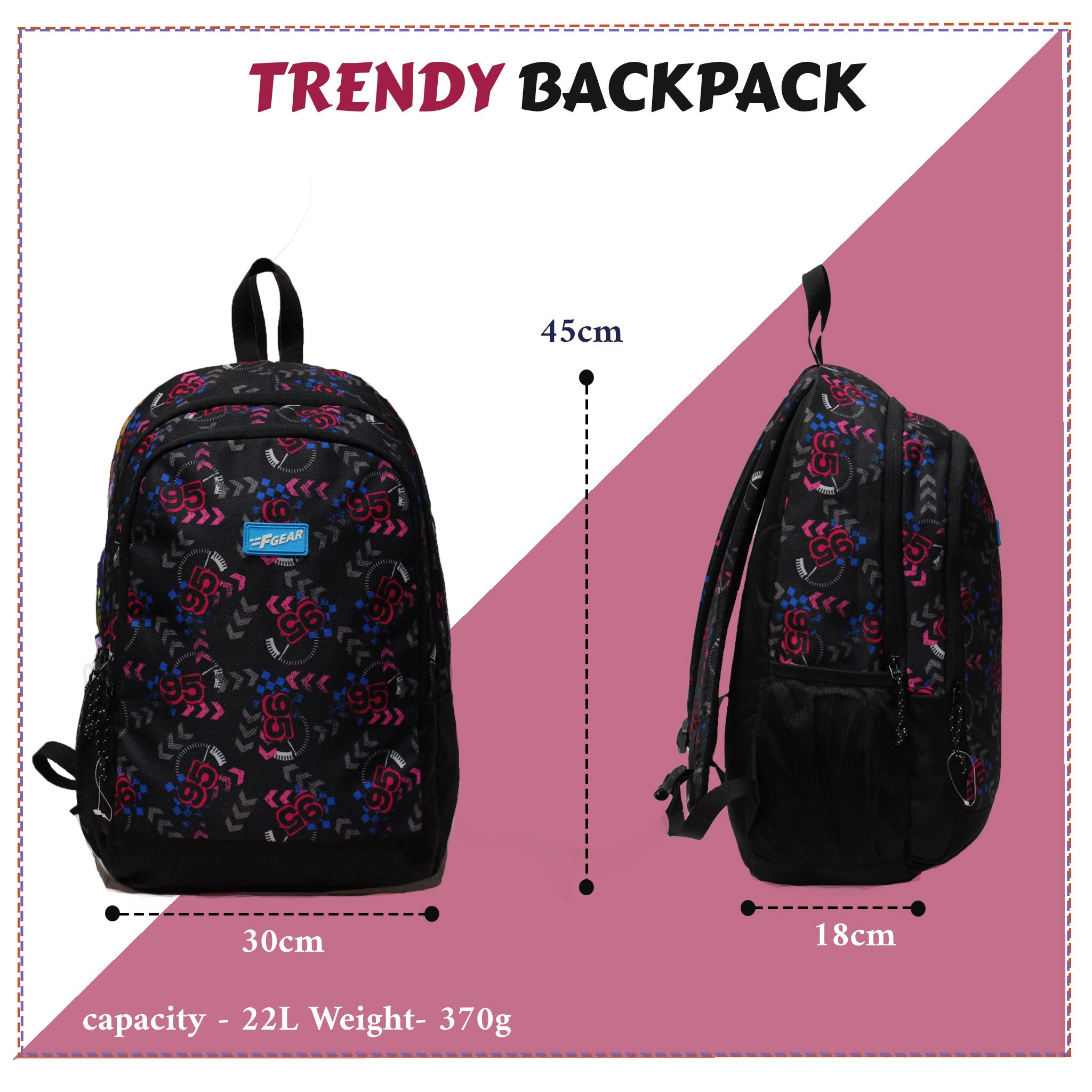 F Gear Castle 95 Black  22 Ltrs Casual Backpack (3414)