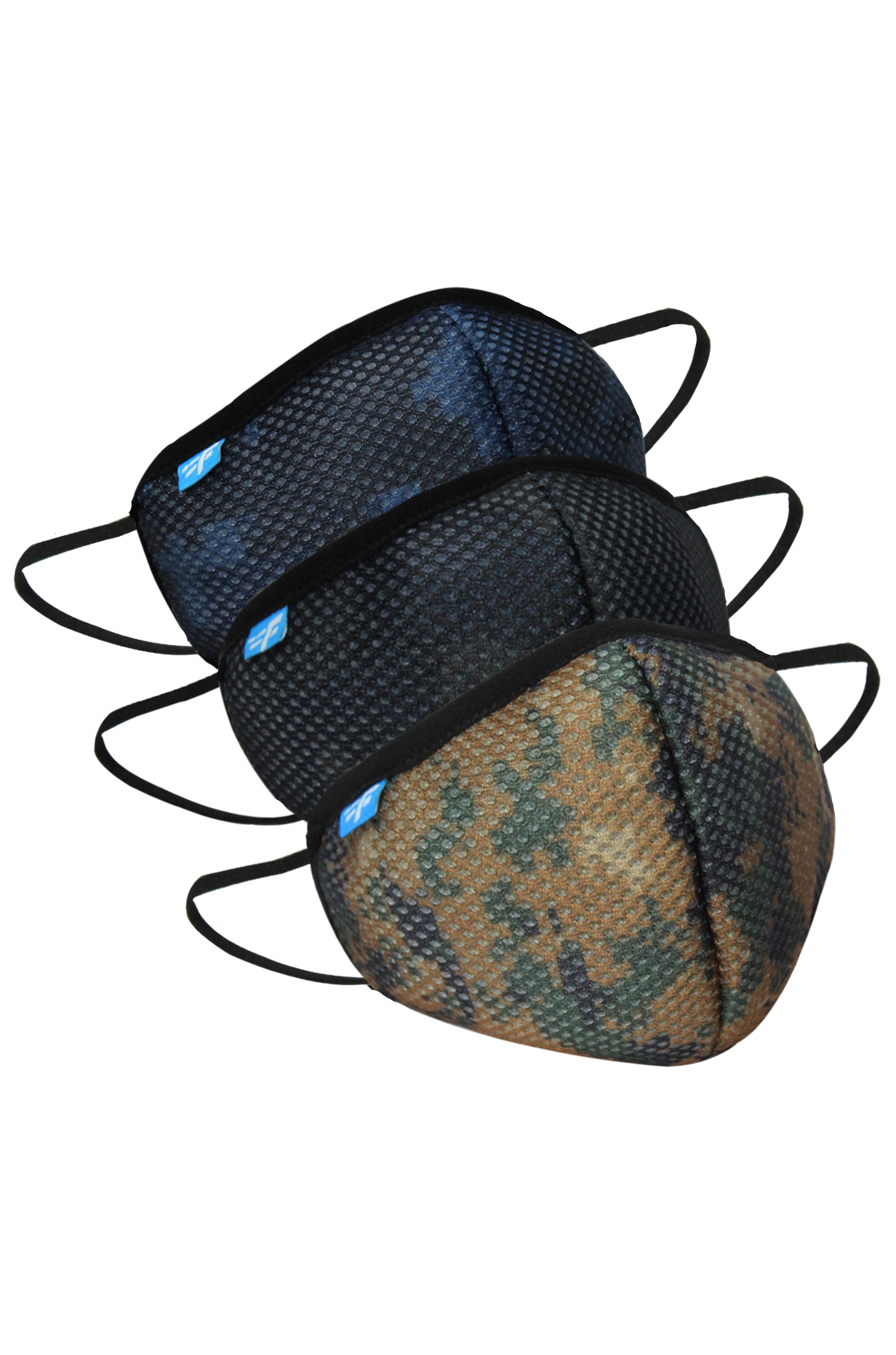 F Gear Safeguard F95 Mask Camo Black- Blue-Khaki 7 layer ISO CE SITRA lab certified >95% Bacteria Filtration PACK-3