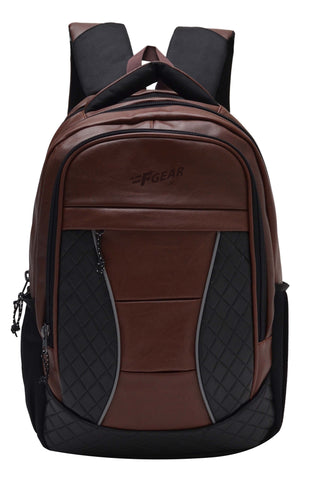 F Gear President 32 Ltrs Brown Artificial Leather Laptop Backpack
