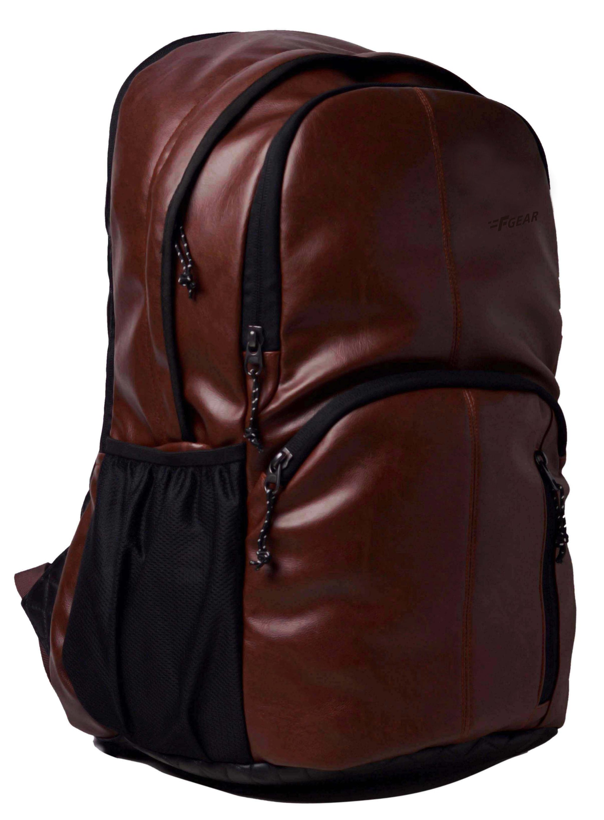 F Gear Tandrum V2 28 Liters Brown Artificial Leather Laptop Backpack (2587)