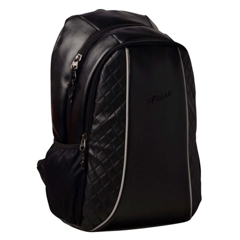 F Gear Carlton V2 27 Liters Black Artificial Leather Laptop Backpack