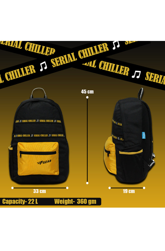 F Gear 22 Ltrs Inherent Black Yellow Casual Backpack (3400)