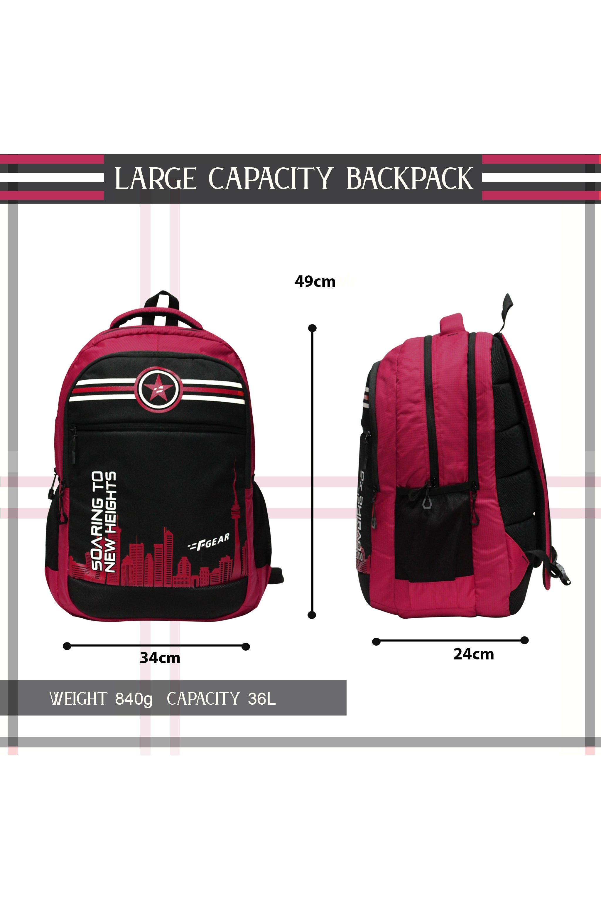 F Gear 36 Ltrs Soaring Red Black School Backpack (3319)