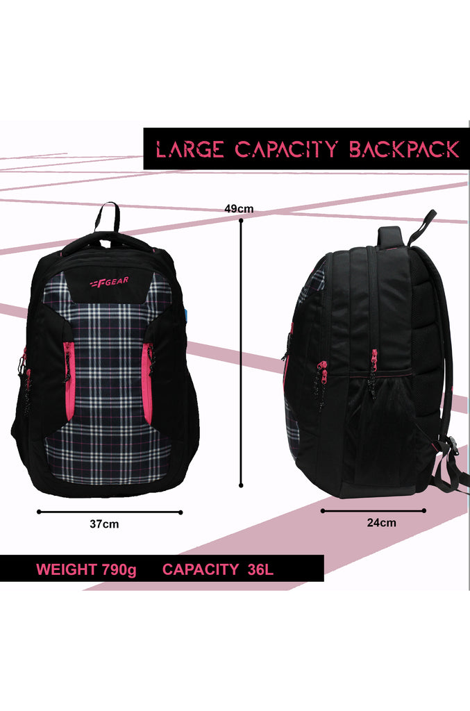 F Gear 36 Ltrs Amigo Plaids Black Pink School Backpack (3301)