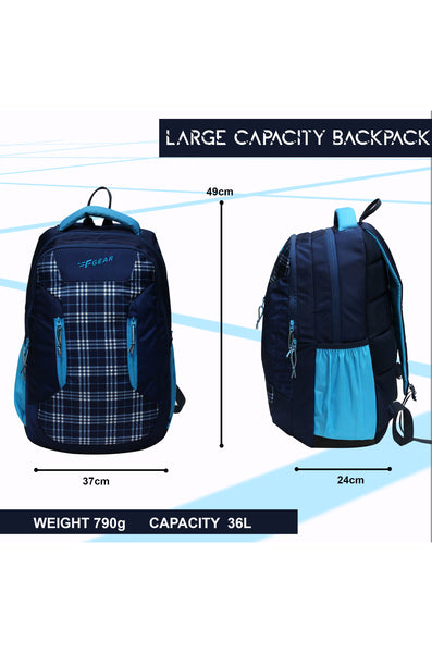 F Gear 36 Ltrs Amigo Plaids Blue White School Backpack (3300)