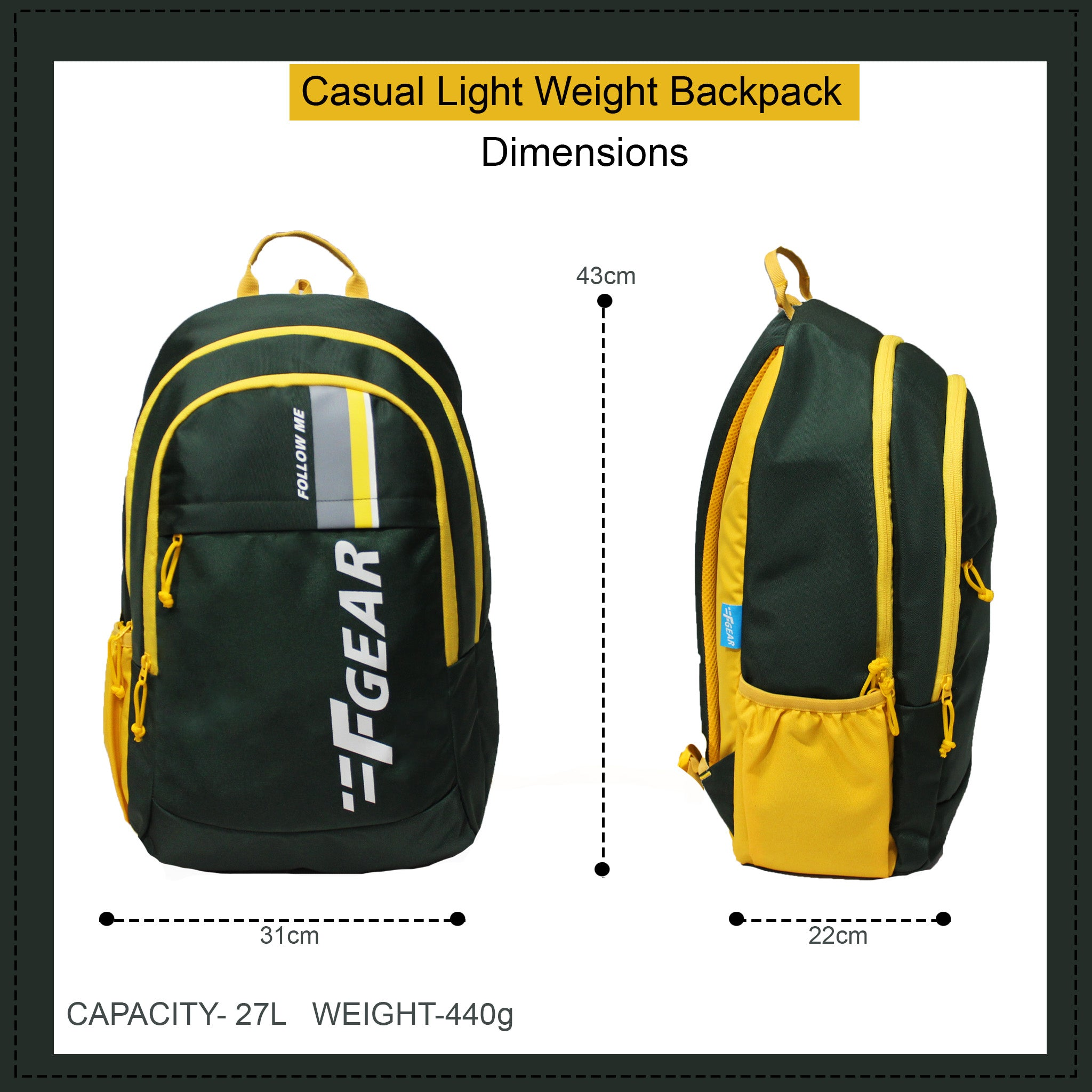 F Gear Circadian Spruce 27 Ltrs Casual Backpack (3729)