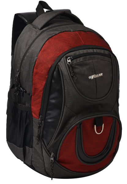 F Gear Axe Melange Grey, Red 27 Liters Laptop Backpack with Rain Cover (2764)