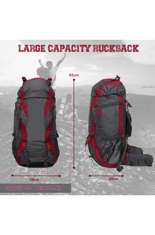 F Gear Penny 75 Ltrs Red Gry Rucksack with Rain Cover (3292)