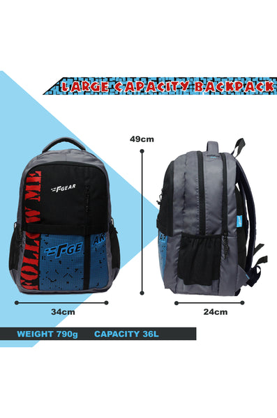 F Gear 36 Ltrs Huayara Grey Blue School Backpack (3316)