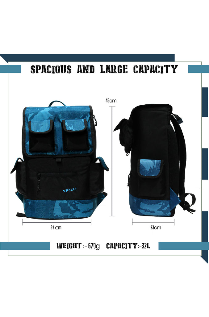 Cyrus 32 Ltrs ERDL Blue Digital Camo Laptop Backpack (3639)