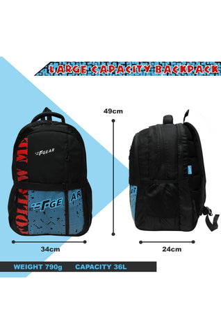 F Gear 36 Ltrs Huayara Black Blue School Backpack (3315)