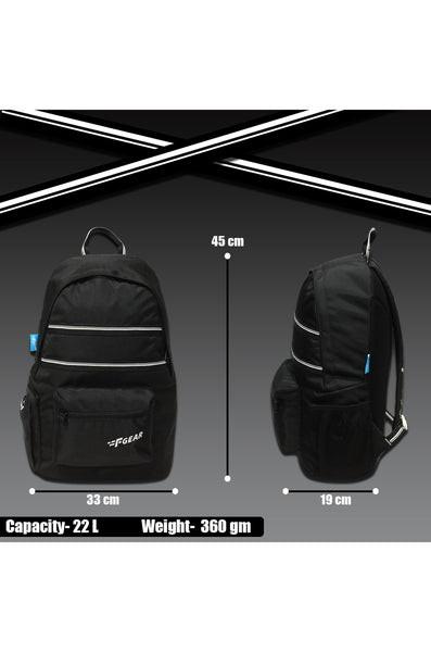 F Gear 22 Ltrs Inherent Black Casual Backpack (3664)