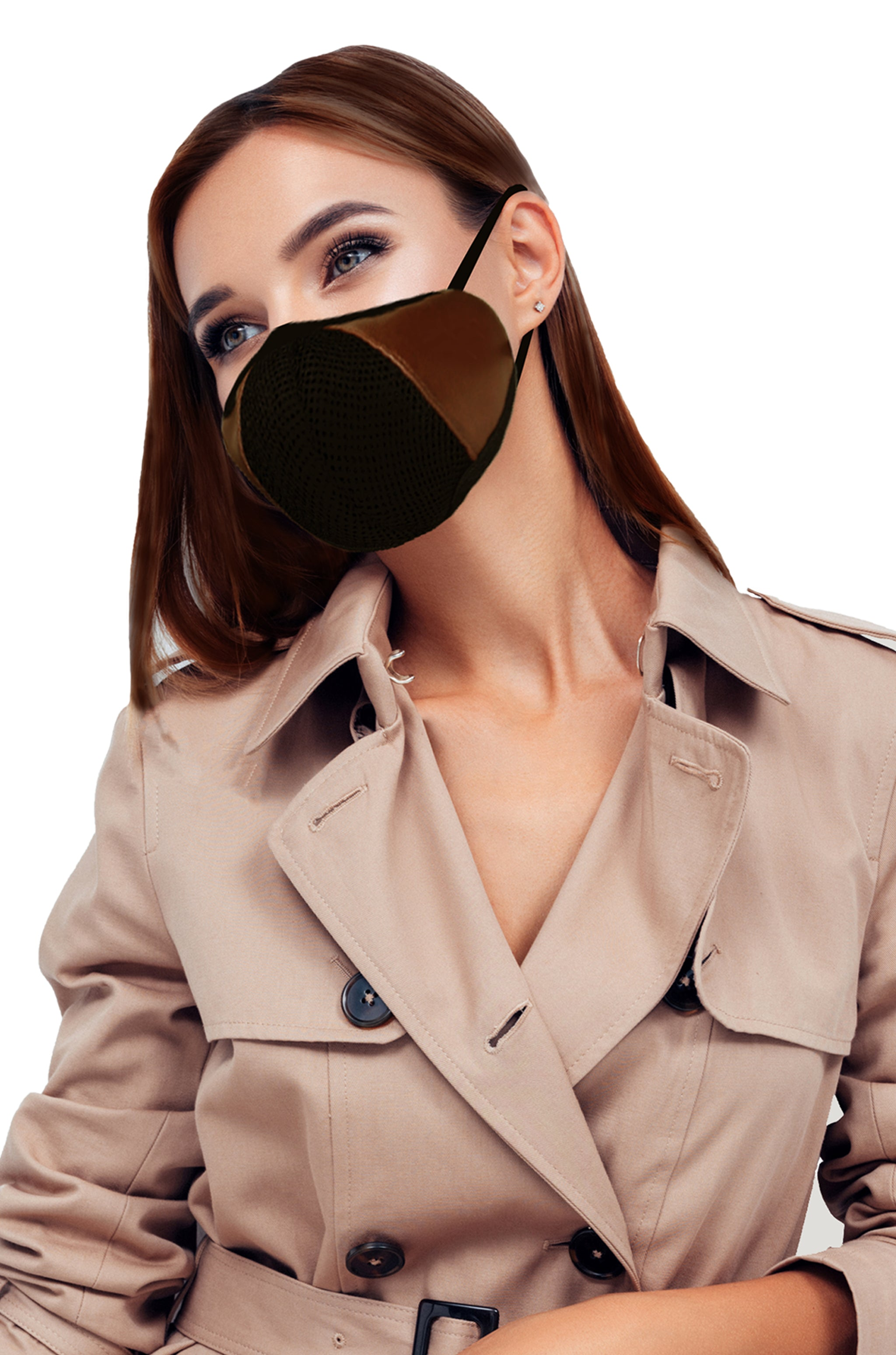 F Gear Luxur F95 Leatherette Mask Brown Safeguard 7 layer ISO CE SITRA lab certified >95% Bacteria Filtration