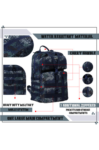 F Gear 40 Ltrs Revolution Marpat Navy Digital Camo Laptop Backpack (3338)