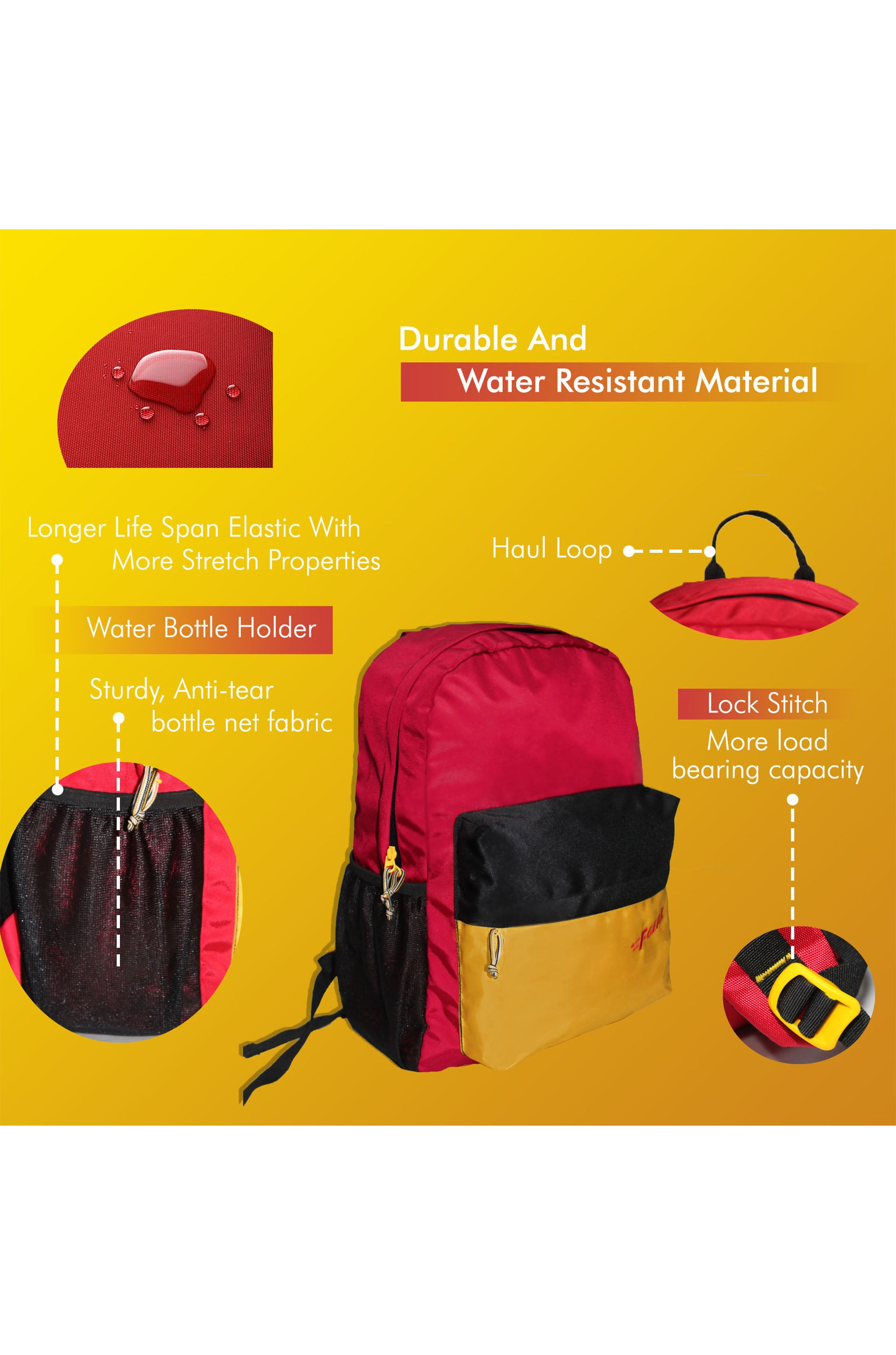 F Gear 23 Ltrs Emprise Guc Red Yellow Black Casual Backpack (3361)