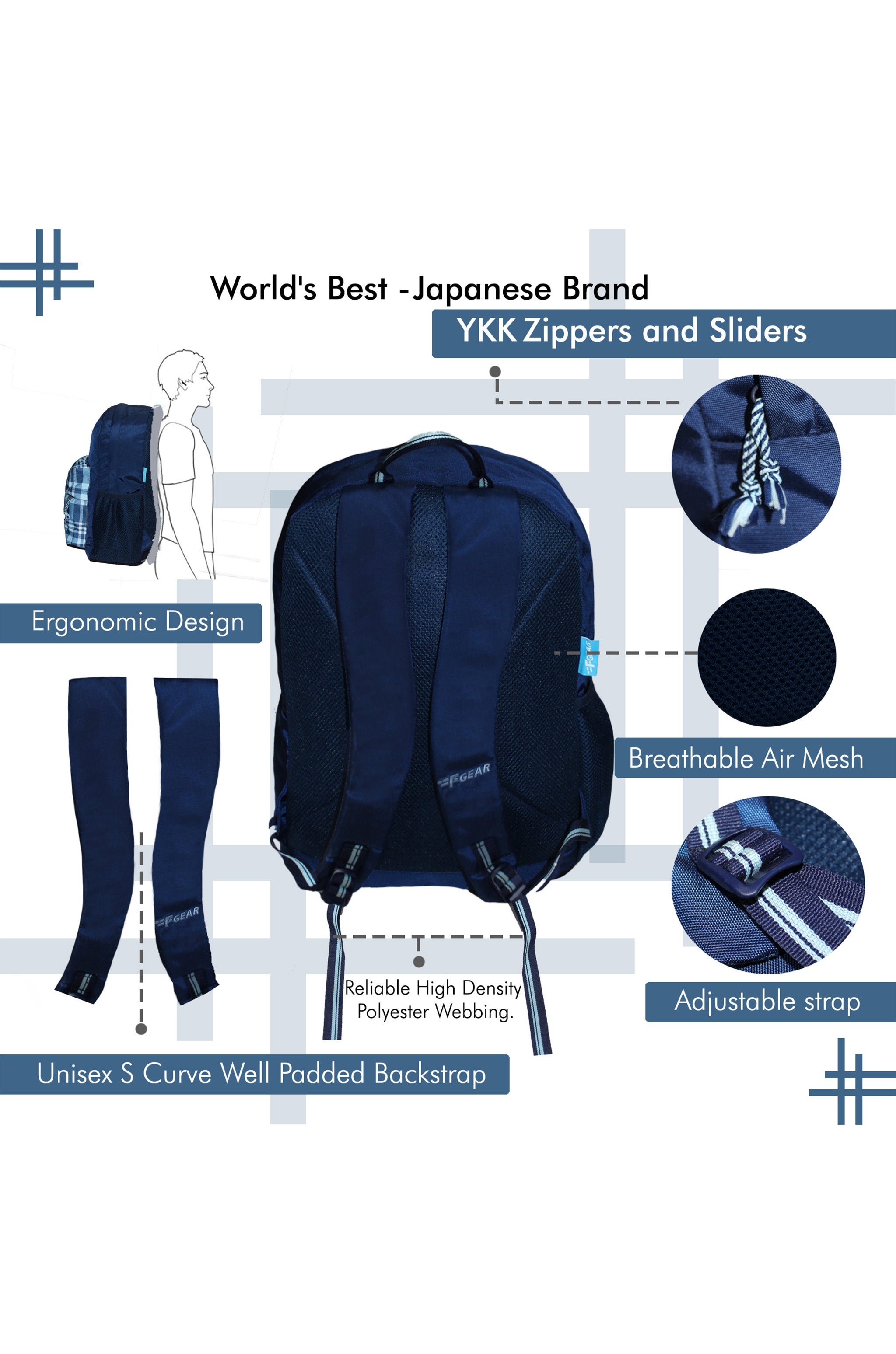 F Gear 23 Ltrs Emprise Checks Navy Blue Casual Backpack (3360)