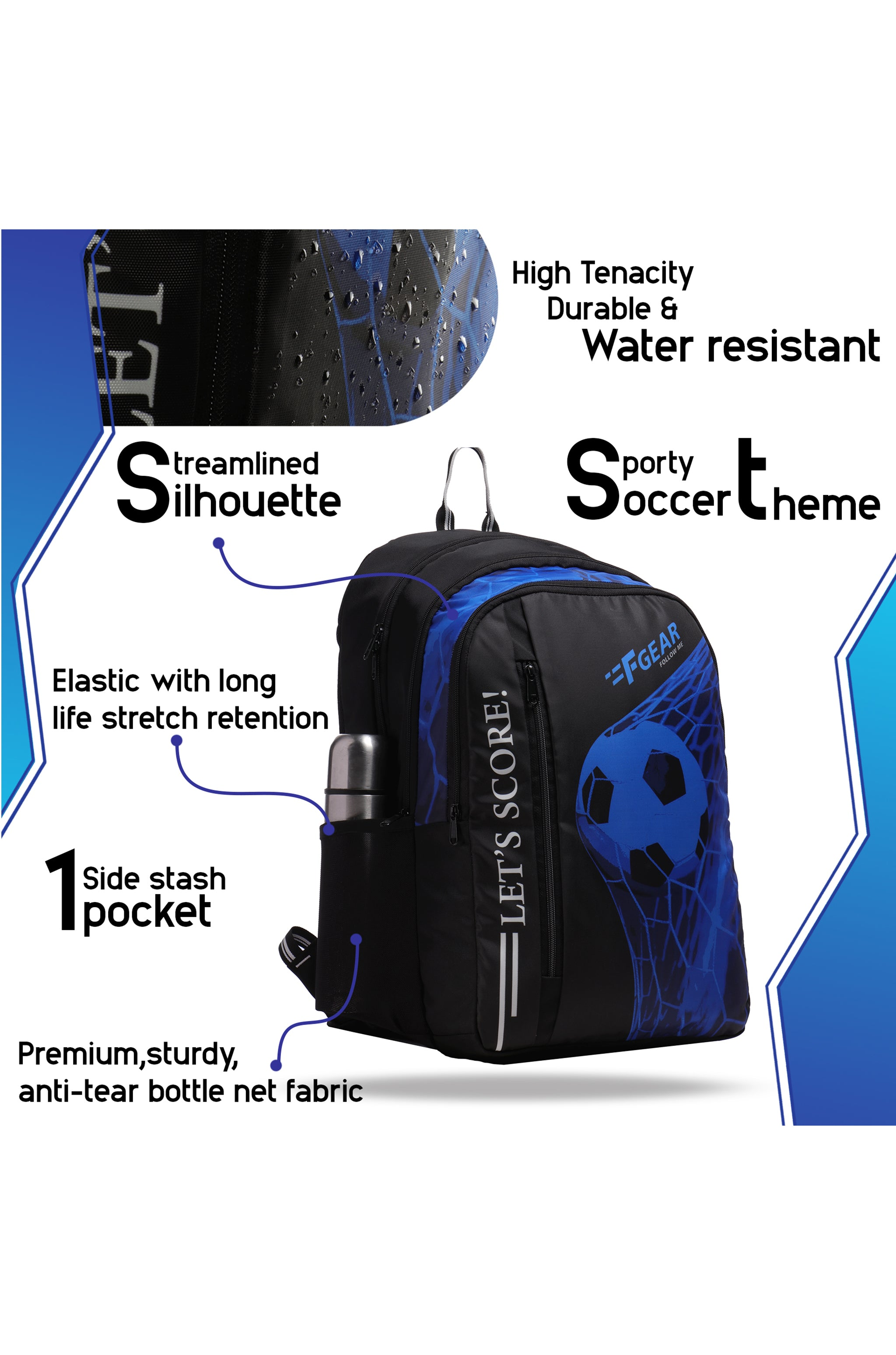 F Gear 34 Ltrs Lets Score Digi Blue School Backpack (3311)