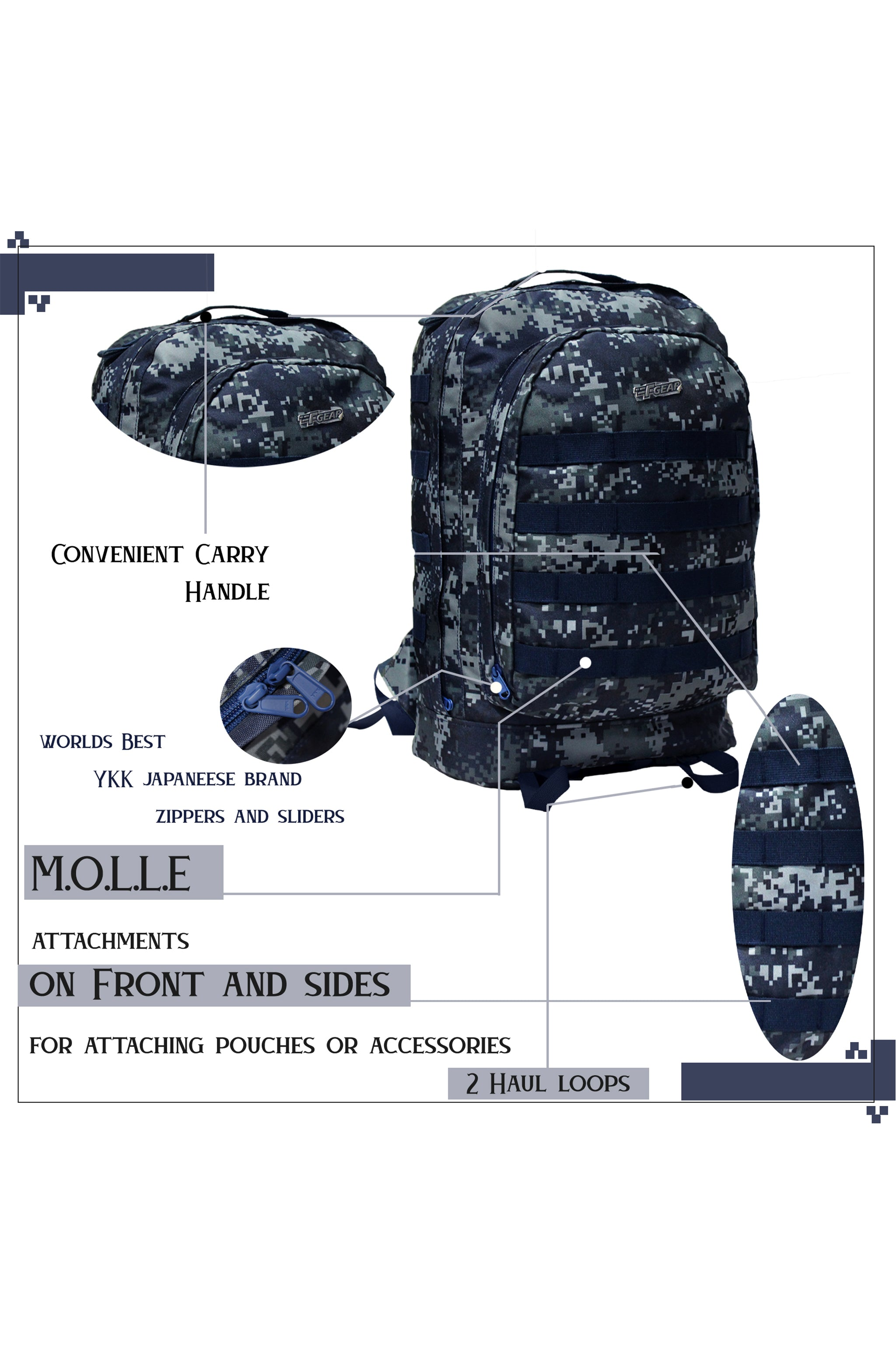 F Gear Tricoder Marpat Navy Digital Camo 32 L Backpack (3437)
