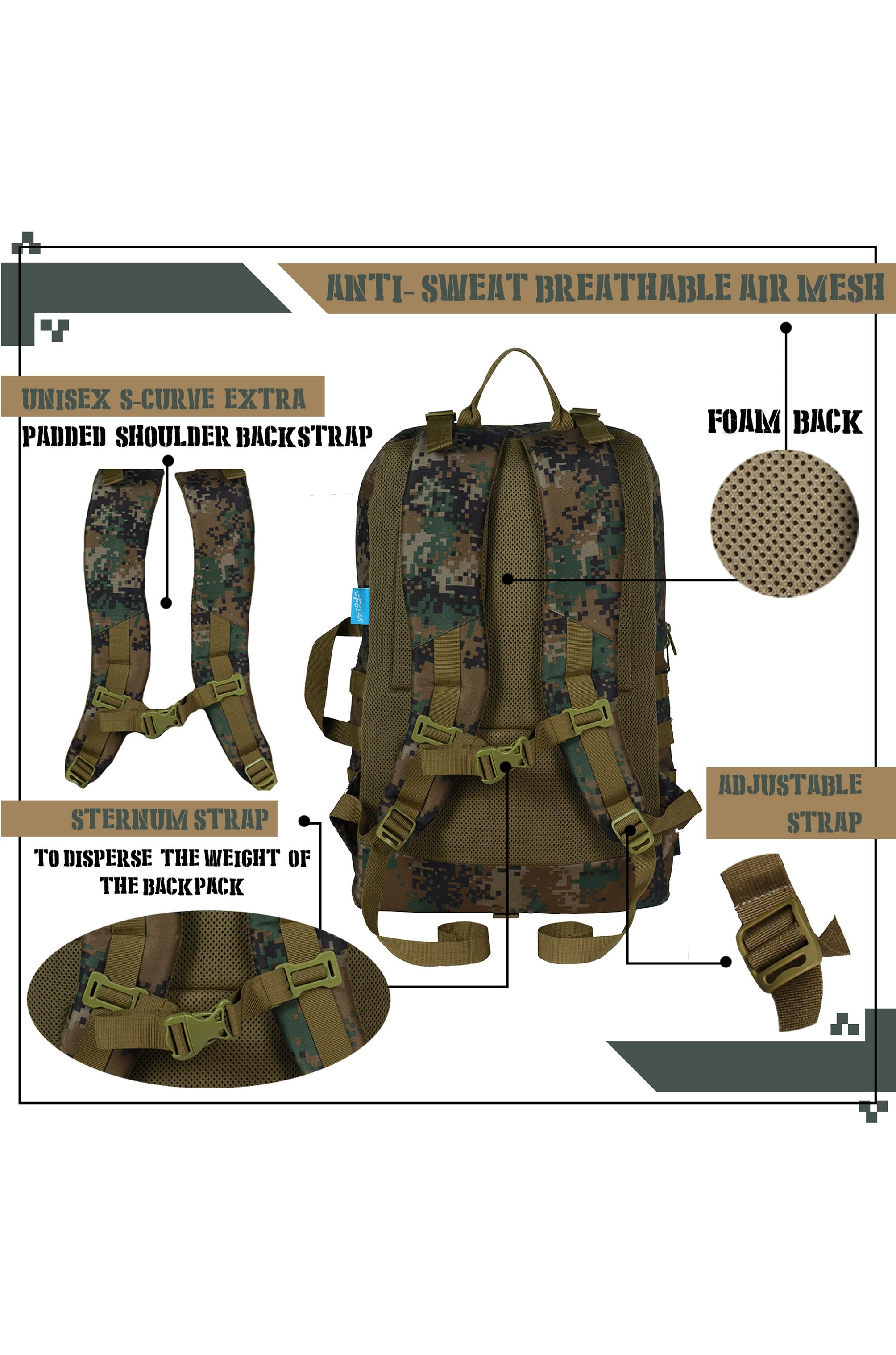 F Gear 40 Ltrs Revolution Marpat WL Digital camo Laptop Backpack (3333)