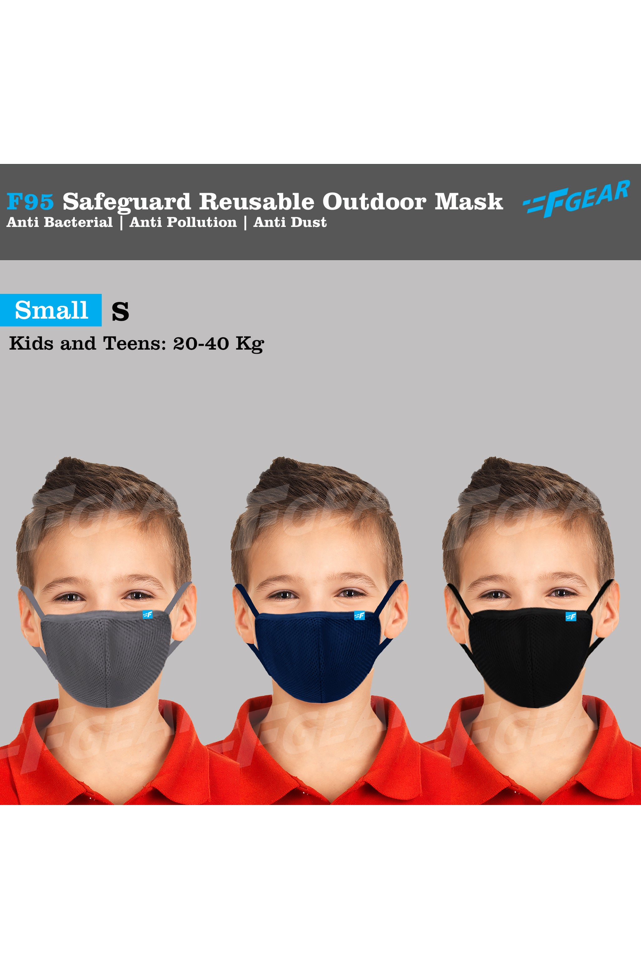 F95  Black Grey Navy  Reusable Washable F Gear Mask PACK-3