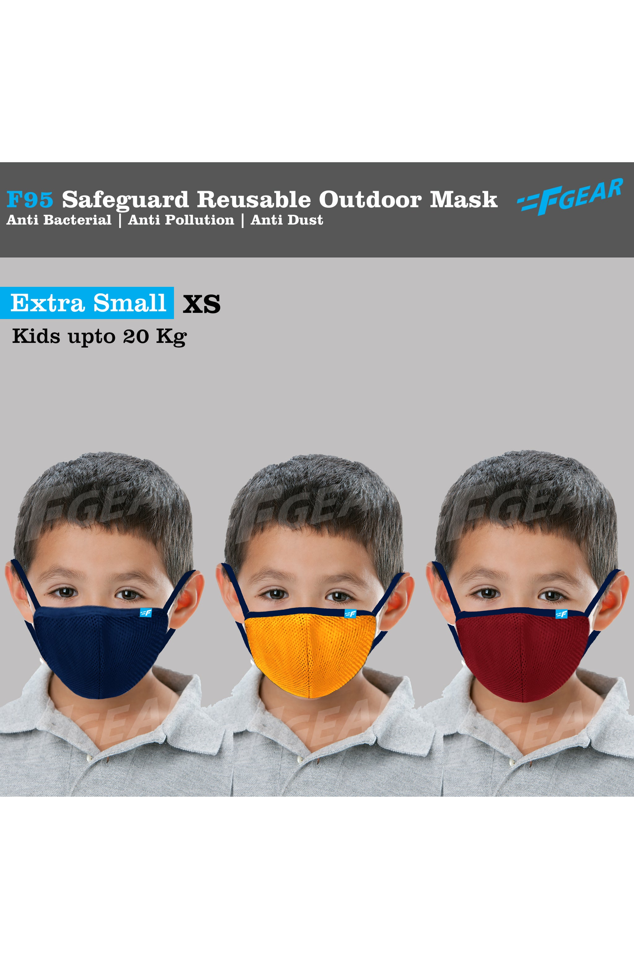 F95 Navy Yellow Red Reusable Washable F Gear Mask PACK-3